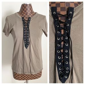 F21 Corset T-Shirt Lace Up Top Olive Army Green